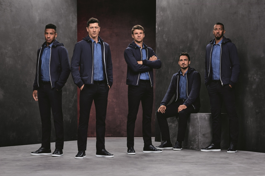 Players from the FC Bayern Munich soccer team outfitted by Boss.