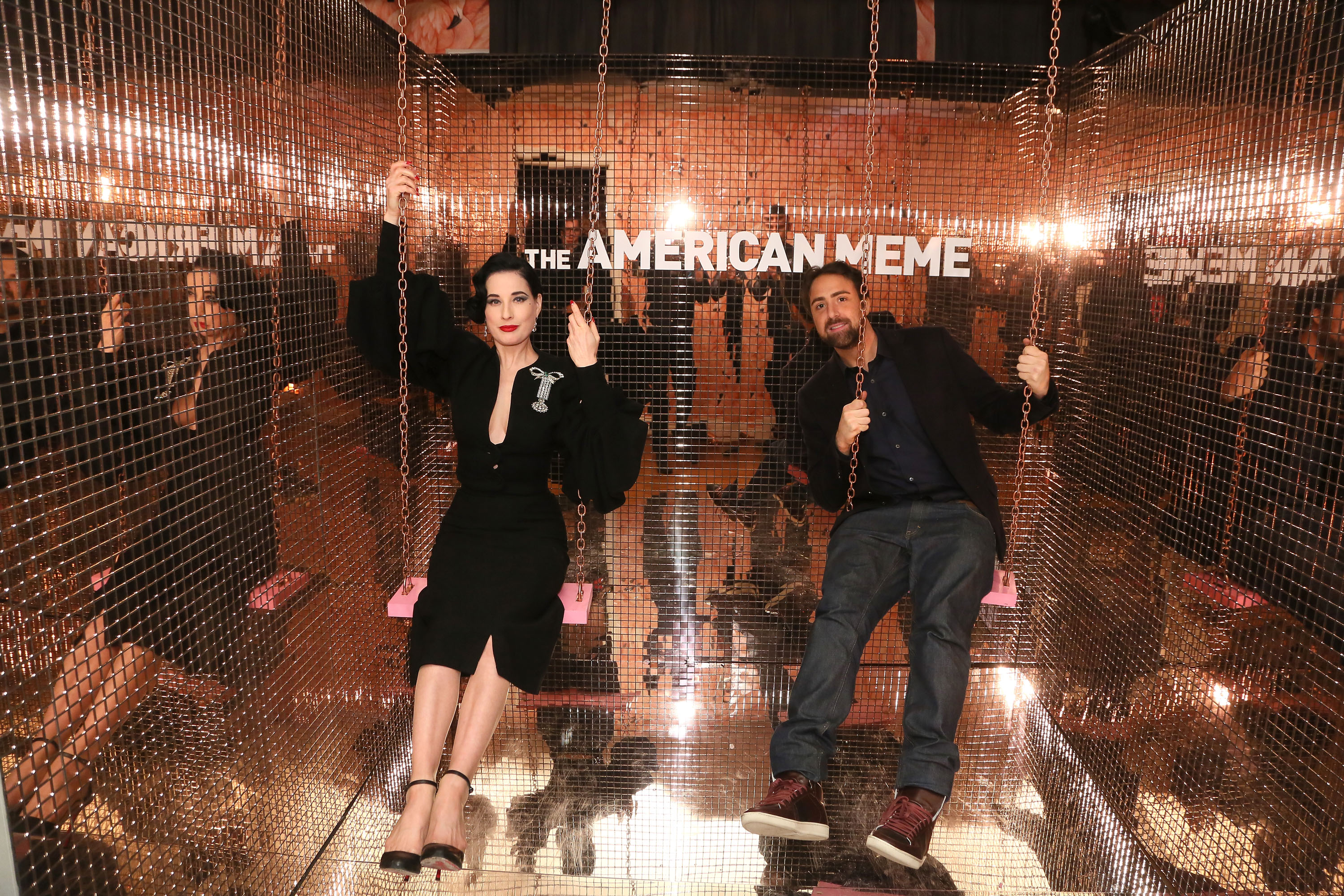 Dita Von Teese (L) and Bert Marcus attend The American Meme special screening after party at the private residence of Jonas Tahlin, CEO of Absolut Elyx, on December 4, 2018 in Los Angeles, California. (Photo by Gabriel Olsen/Getty Images for Absolut Elyx )