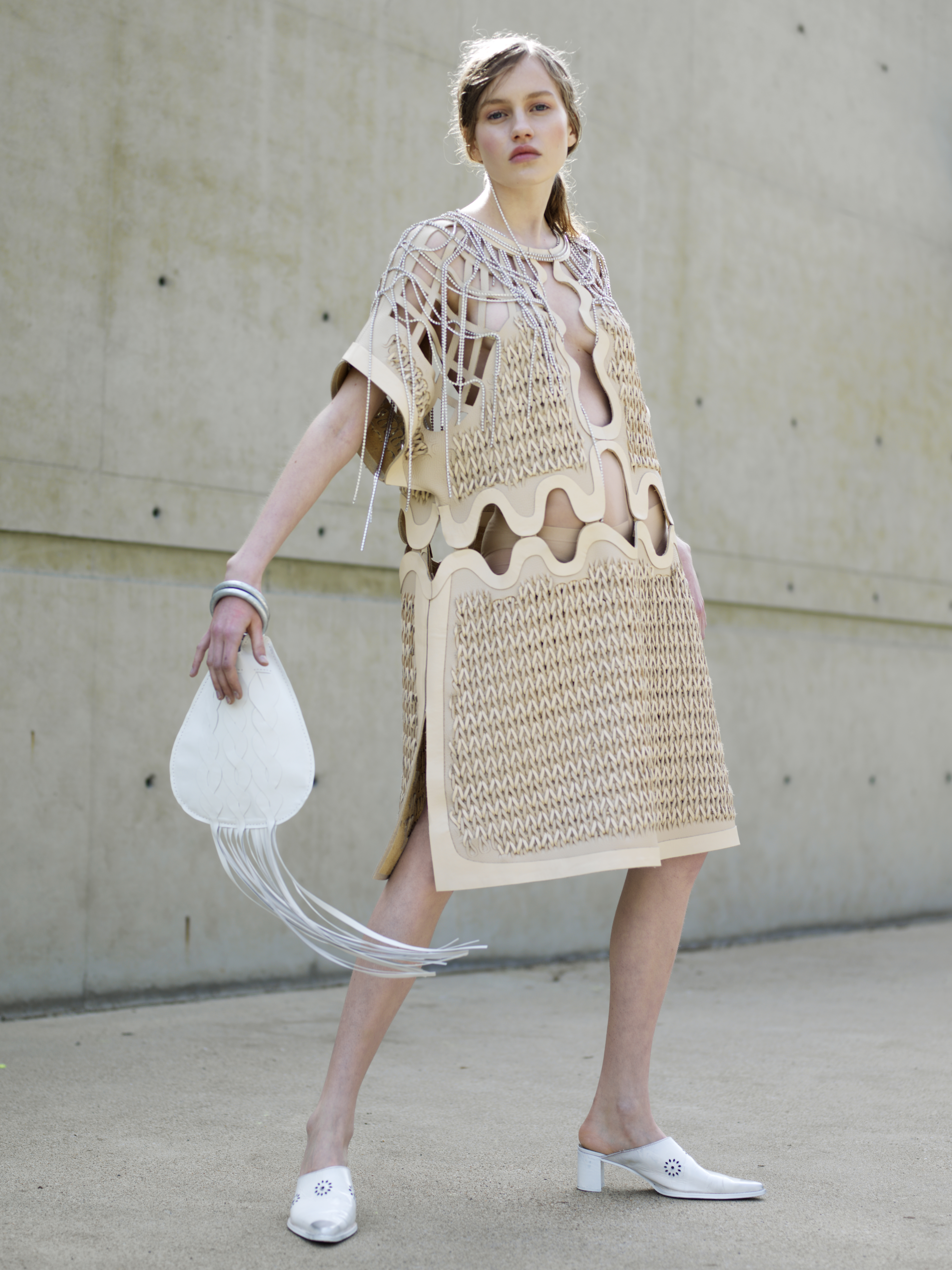 Marie-Eve Lecavalier weaved leftover scraps of leather to create this dress.
