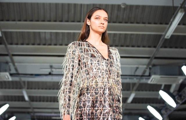 A catwalk image of Aurélie Fontan's kombucha dress.