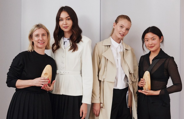 Australian Fashion Foundation 2019 Scholarship Award winners (left and right) Amanda Nichols and Helena Dong, with models wearing looks from their collections.