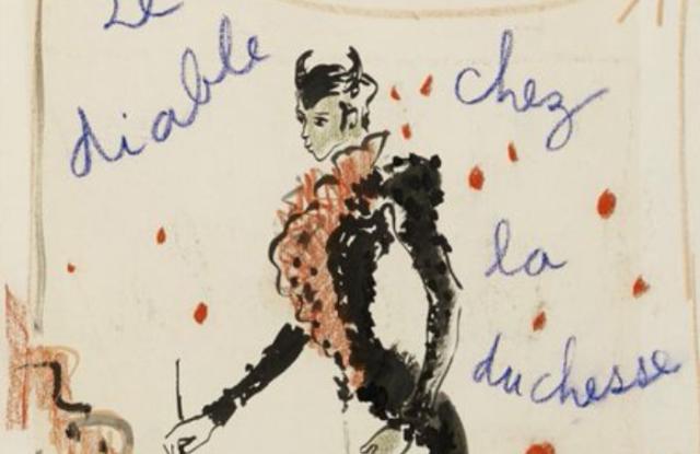 """""""Le Diable Chez La Duchesse"""" by Yves Saint Laurent, circa 1962. Ink, wash and pastel on paper"""