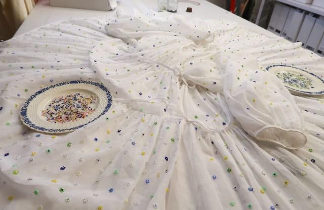 Beading work designed by Margrethe Hjorte Hay on Bahnsen's dress.