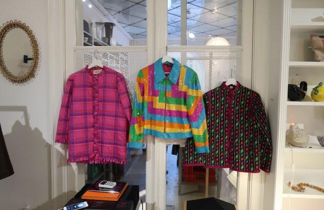 Jackets for sale at Caroline Bille Brahe's CBN Vintage shop, located inside the Atelier September cafe.