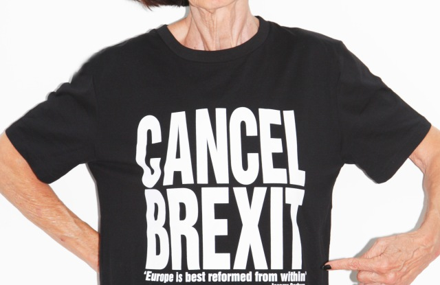 English designer Katharine Hamnett, in one of her slogan tees, believes Britain will only benefit from staying in the European Union.