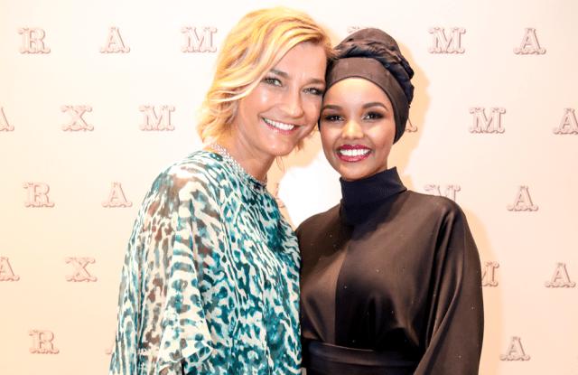 Nicola Maramotti and Halima Aden at the new Max Mara flagship in Dubai