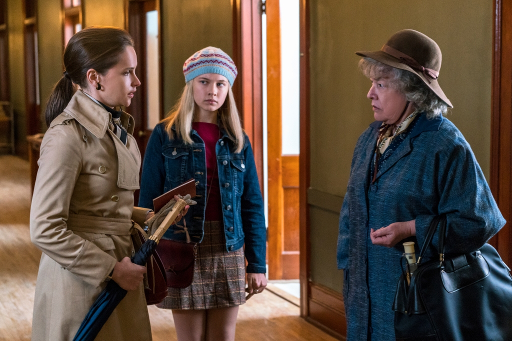 "Felicity Jones as Ruth Bader Ginsburg, Cailee Spaeny as Jane Ginsburg, and Kathy Bates as Dorothy Kenyon in ""On The Basis of Sex"""