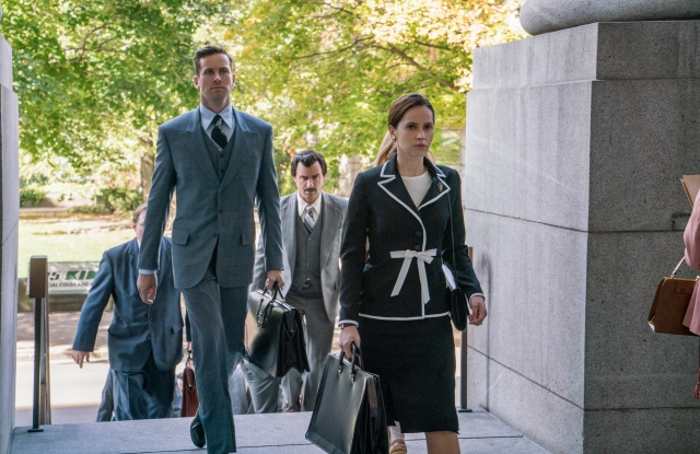 "Armie Hammer as Marty Ginsburg, Justin Theroux as Melvin Wulf, and Felicity Jones as Ruth Bader Ginsburg in ""On The Basis of Sex."""