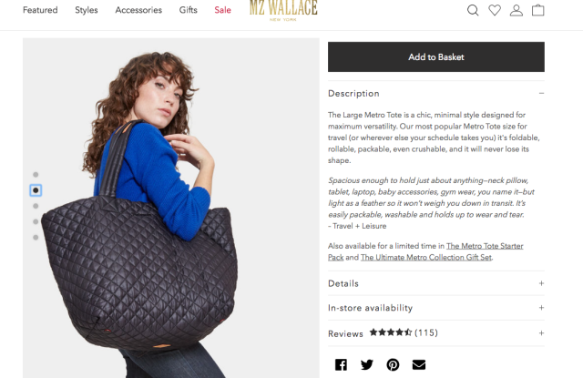 MZ Wallace's Metro Tote quilted bag, as displayed on the brand's web site.
