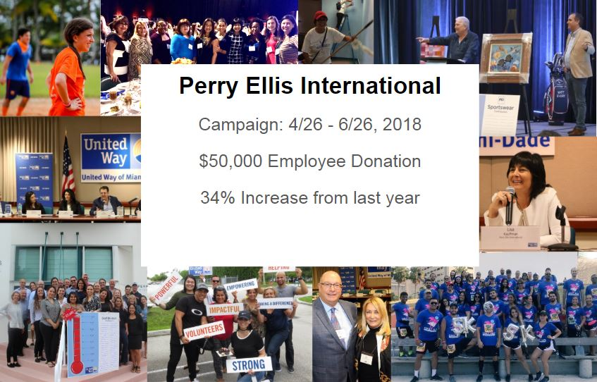 Company events such as the United Way fundraiser at Perry Ellis  International helps firms play a role in social responsibility.