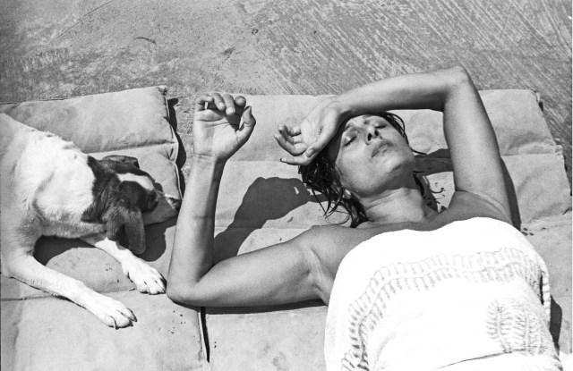 Anna Magnani at her villa in San Felice Circeo, near Rome in 1955.