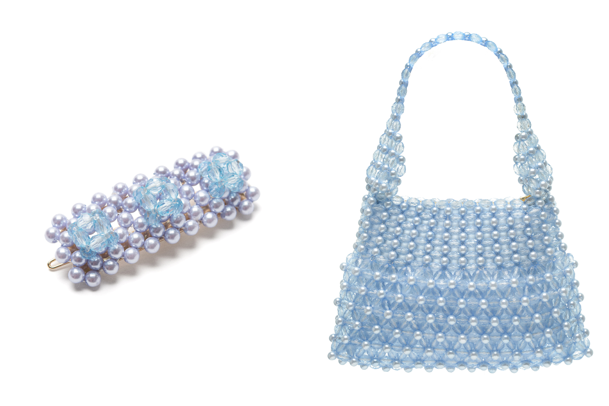 A hair clip and matching handbag by the English brand, Shrimps.