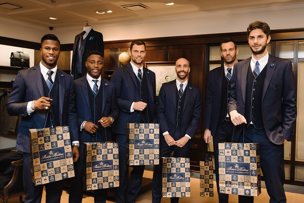 Inter players attended an in-store meet and greet event at Brooks Brothers' Milan flagship on Thanksgiving.