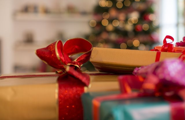 Minimum usage fee is £35Mandatory Credit: Photo by Cultura/REX/Shutterstock (4794771a)Close up of three christmas gifts with ribbonsVARIOUS