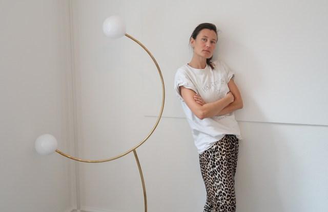 Jewelry designer Sophie Bille Brahe in her studio, with her designs below.