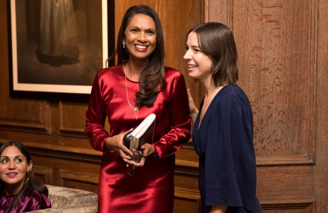 Gina Miller talks at Catherine Quin's Literary Tea at Maison Assouline in London's St James to launch her new collection