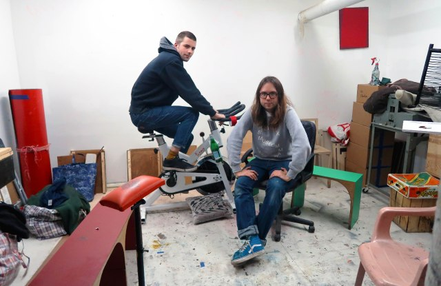 Jack and Louis Shannon in the residency studio space within their gallery, Entrance.