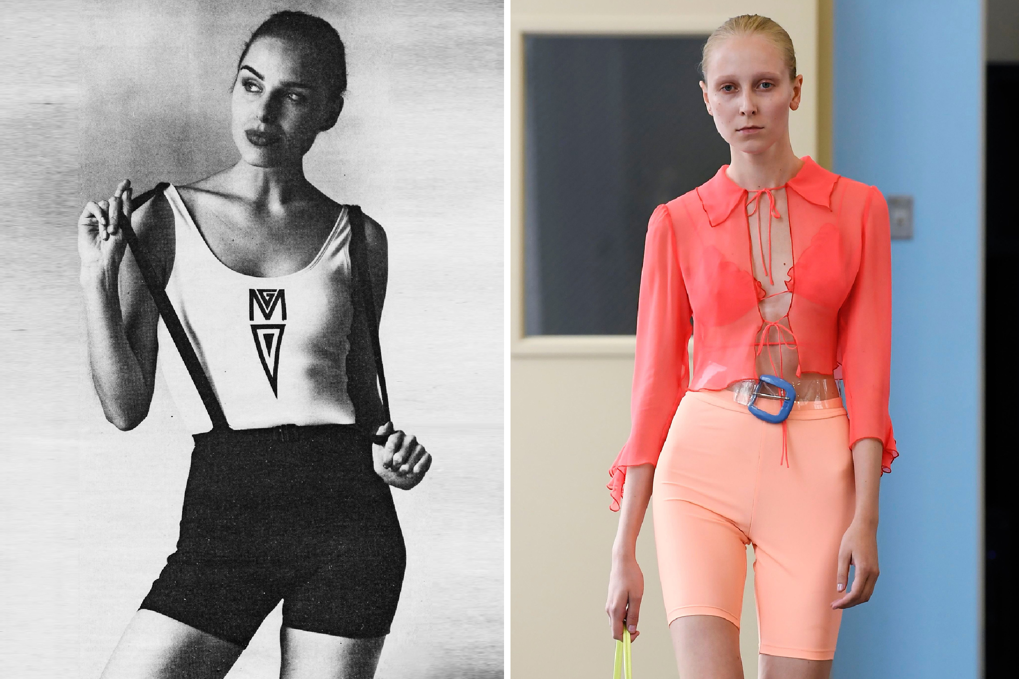 Gilda Marx's bicycle shorts pictured in WWD in February 1993 (left) and Maryam Nassir Zadeh RTW Spring 2019
