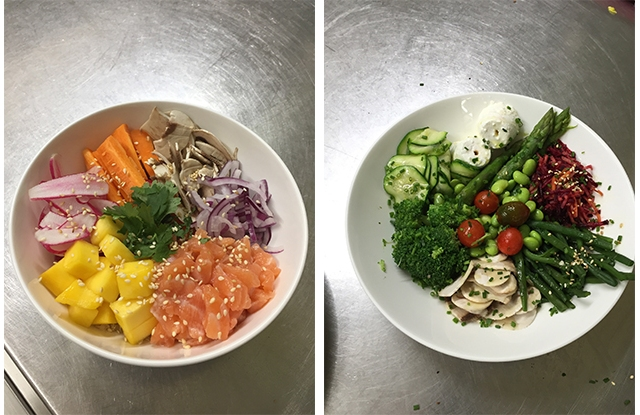 A Hawaian-style poke bowl and the signature vegetable dish at Mar'Co