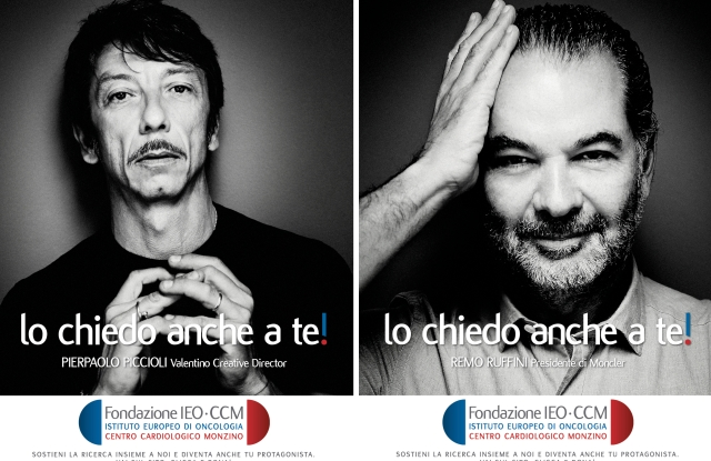 Pierpaolo Piccioli and Remo Ruffini in IEO-CCM Foundation's first campaign.