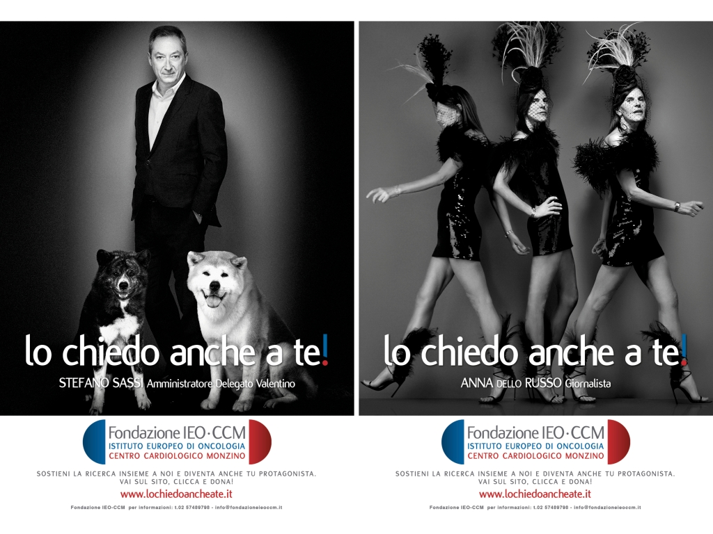 Stefano Sassi and Anna Dello Russo in IEO-CCM Foundation's first campaign.
