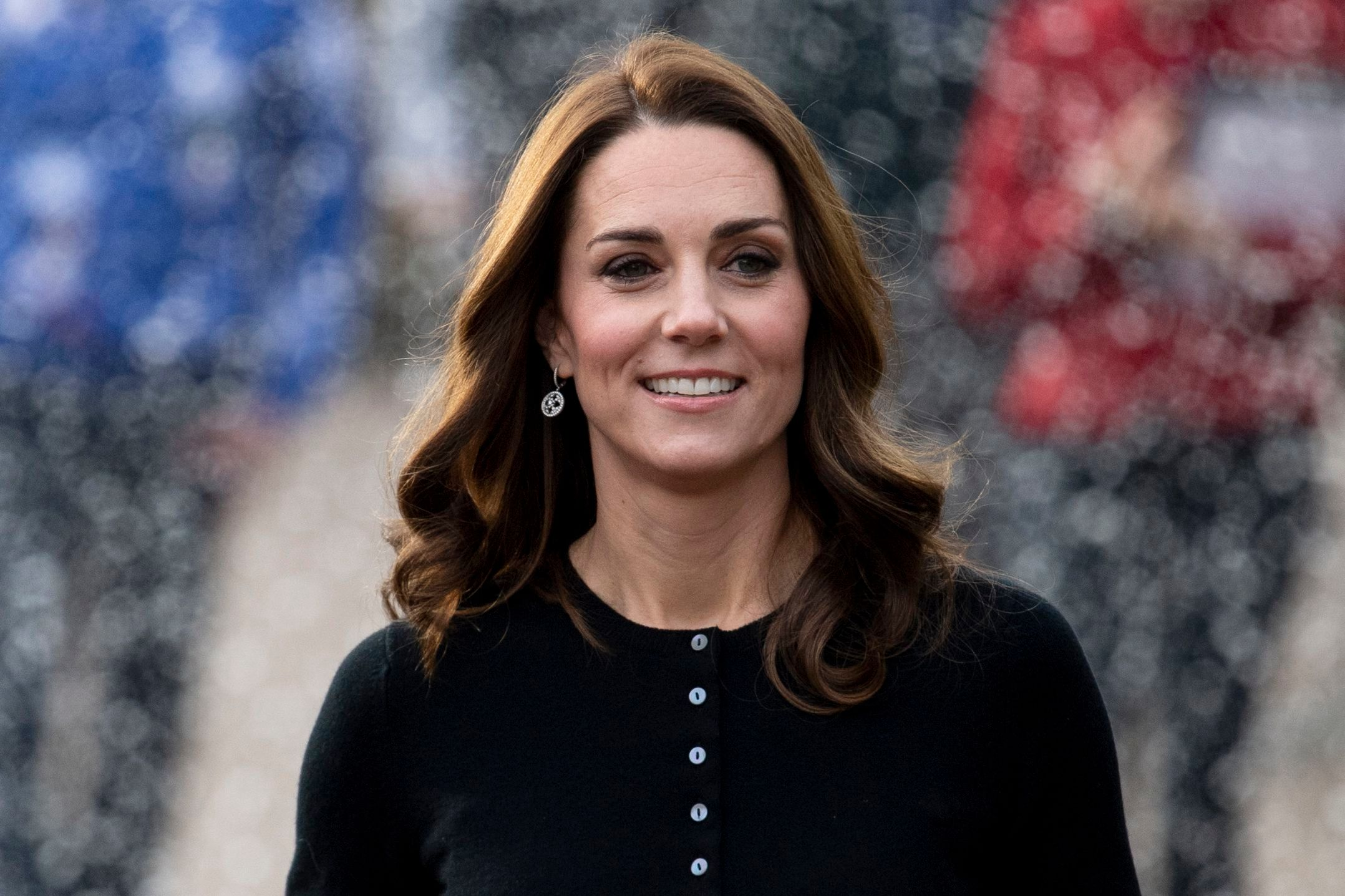 Britain's Catherine, Duchess of Cambridge arrives with her husband, the Duke of Cambridge (unseen), to host a Christmas Party for the families of serving Royal Air Force (RAF) personnel at the Kensington Palace Orangery in Central London, Britain, 04 December 2018.Duke and Duchess of Cambridge host Christmas Party for RAF familes at Kensington Palace, London, United Kingdom - 04 Dec 2018