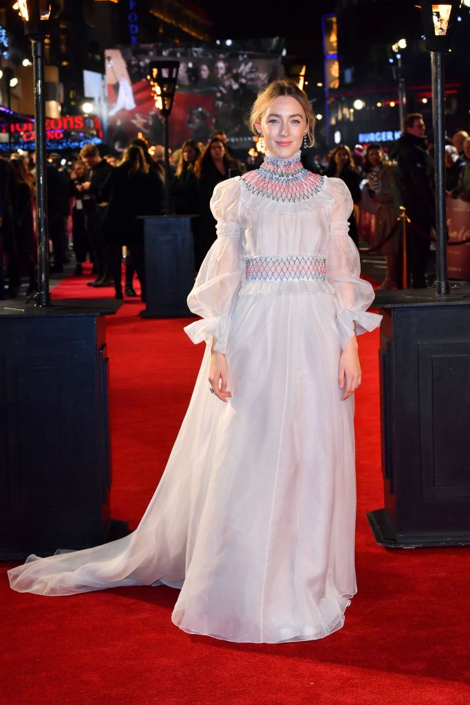 Saoirse Ronan'Mary Queen of Scots' film premiere, VIP Arrivals, London, UK - 10 Dec 2018 Wearing Carolina Herrera Same outfit as catwalk model *9878079r