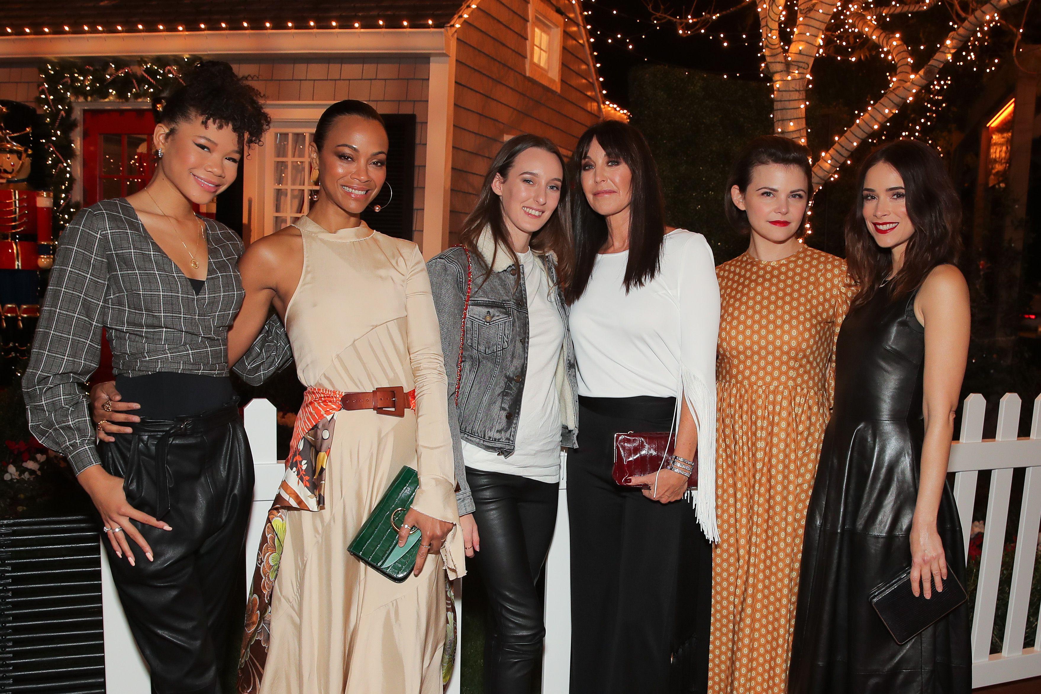 Storm Reid, Zoe Saldana, Araminta Mellon, Tamara Mellon, Ginnifer Goodwin and Abigail SpencerTamara Mellon Palisades Village store launch party, Los Angeles, USA - 11 Dec 2018