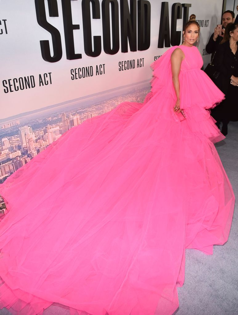 Jennifer Lopez'Second Act' film premiere, Arrivals, New York, USA - 12 Dec 2018Wearing Giambattista Valli same outfit as catwalk model *9731903ba
