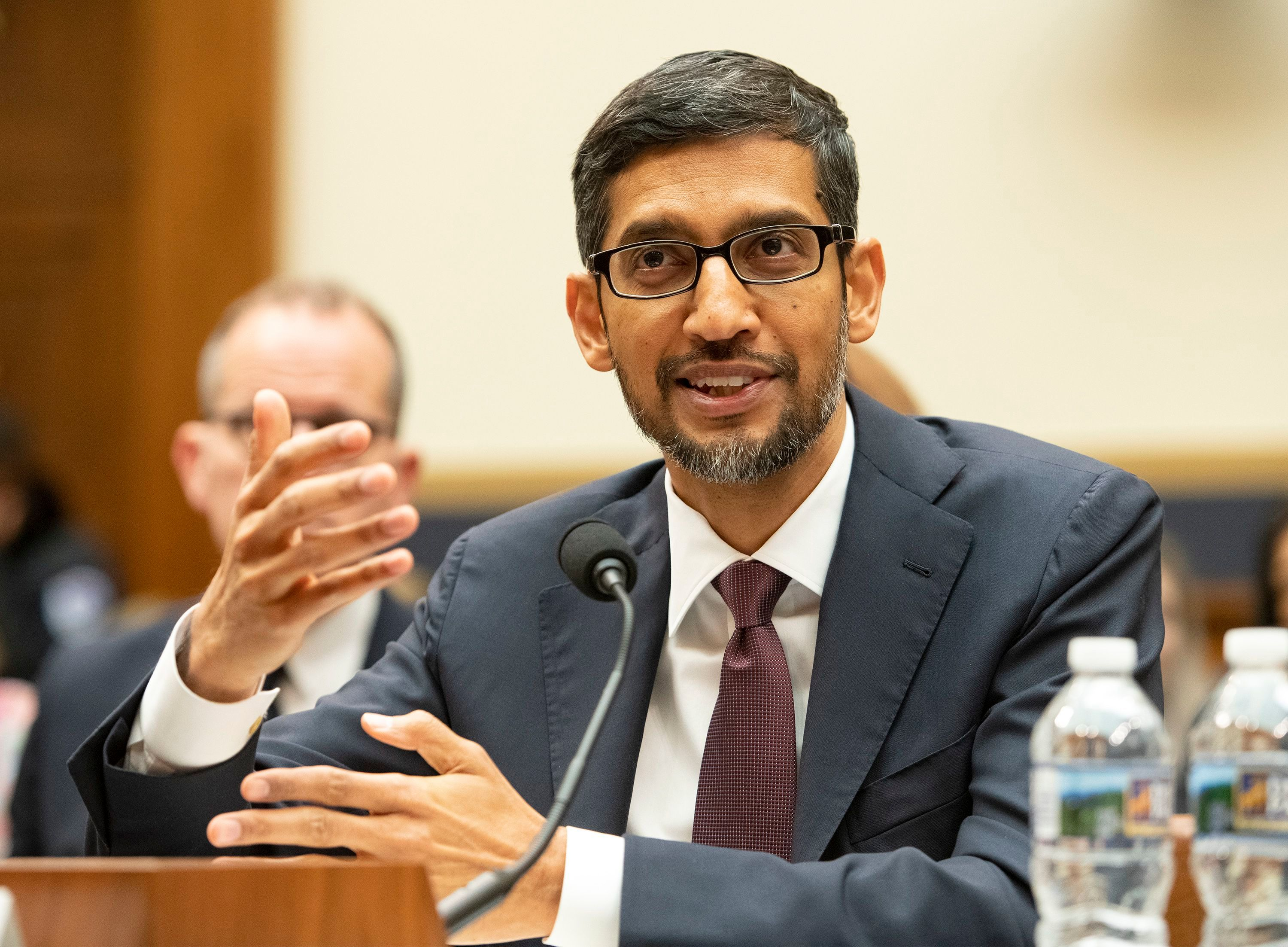 """RESTRICTION: No New York or New Jersey Newspapers or newspapers within a 75 mile radius of New York CityMandatory Credit: Photo by REX/Shutterstock (10031705v) Sundar Pichai, Chief Executive Officer of Google, testifies before the United States House Committee on the Judiciary on """"Transparency & Accountability: Examining Google and its Data Collection, Use and Filtering Practices"""" on Capitol Hill Google CEO Sundar Pichai testifies before Congress, Washington DC, USA - 11 Dec 2018"""