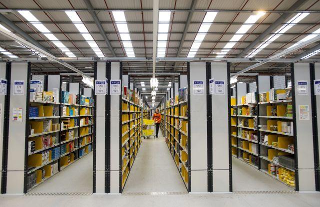 Inside an Amazon warehouse in Peterborough, Britain.