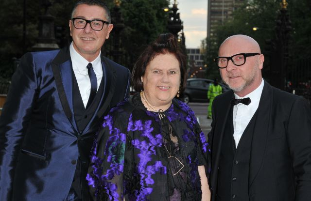 Stefano Gabbana, Suzy Menkes and Domenico DolceBritish Vogue Centenary Gala Dinner, Kensington Gardens, London, Britain - 23 May 2016