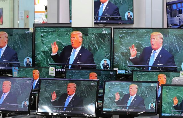 TV screens show a news program with an image of U.S. President Donald Trump in his address at the U.N. General Assembly, at the Yongsan Electronic Market in Seoul, South Korea, . South Korea seemed to downplay the latest hot rhetoric aimed at North Korea by President Trump, calling his words a signal of Washington's strong resolve to deal with the North's march to nuclear weapons mastery but essentially a repetition of U.S. policyKoreas Tensions Trump, Seoul, South Korea - 20 Sep 2017