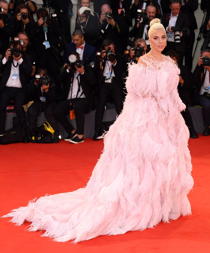 Lady Gaga'A Star is Born' premiere, 75th Venice International Film Festival, Italy - 31 Aug 2018 WEARING VALENTINO SAME OUTFIT AS MODEL ON CATWALK KAIA GERBER *9731966e