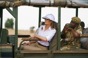 First lady Melania Trump looks out over Nairobi National Park in Nairobi, Kenya, during a safari guided by Nelly Palmeris. First lady Melania Trump is visiting Africa on her first big solo international tripMelania Trump Africa, Nairobi, Kenya - 05 Oct 2018