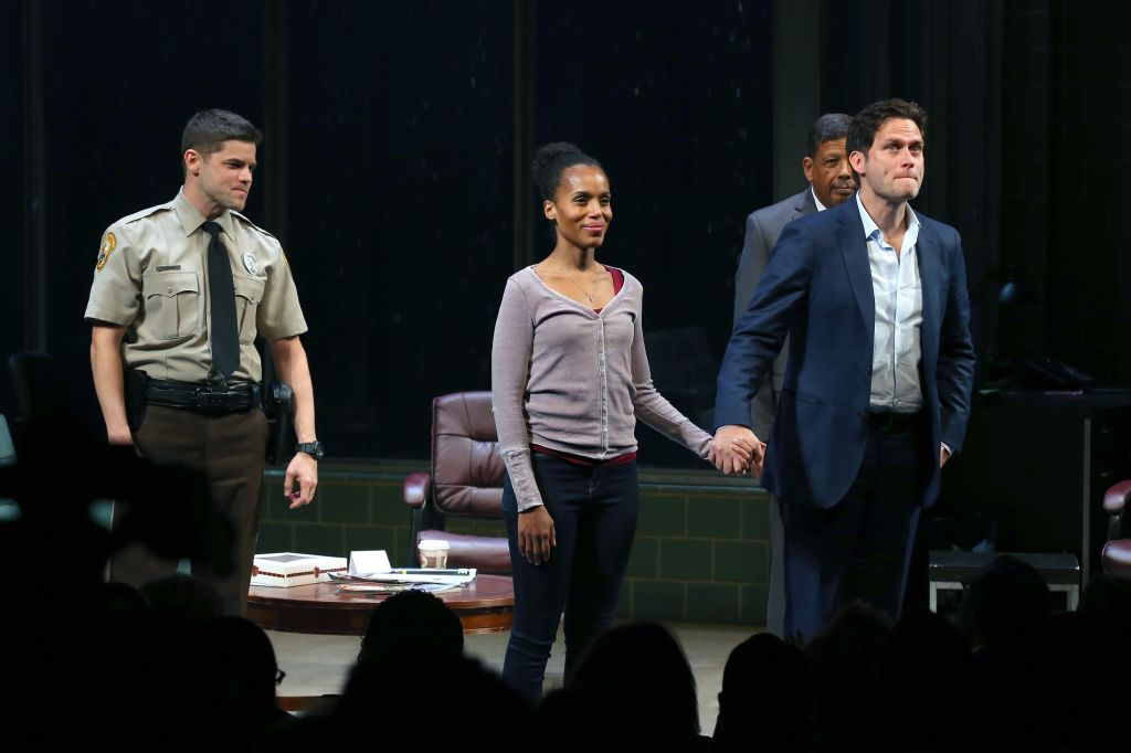 """Jeremy Jordan, Kerry Washington and Steven Pasquale at the """"American Son"""" opening night on Broadway."""