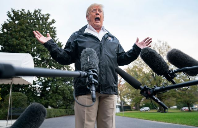 U.S. President Donald J. Trump speaks to the media before he departs the White House for California, where he is scheduled to view damage from that state's wildfires, in Washington, DC, USA, 17 November 2018. Seventy-four people have been killed and more than 1,000 people are missing due to multiple devastating fires across the state. The President spoke about the investigation into Jamal Khashoggi's murder, the Mueller investigation, and the migrant caravan approaching the southern border.Trump speaks before departing White House to view wildfire damage in California, Washington, USA - 17 Nov 2018