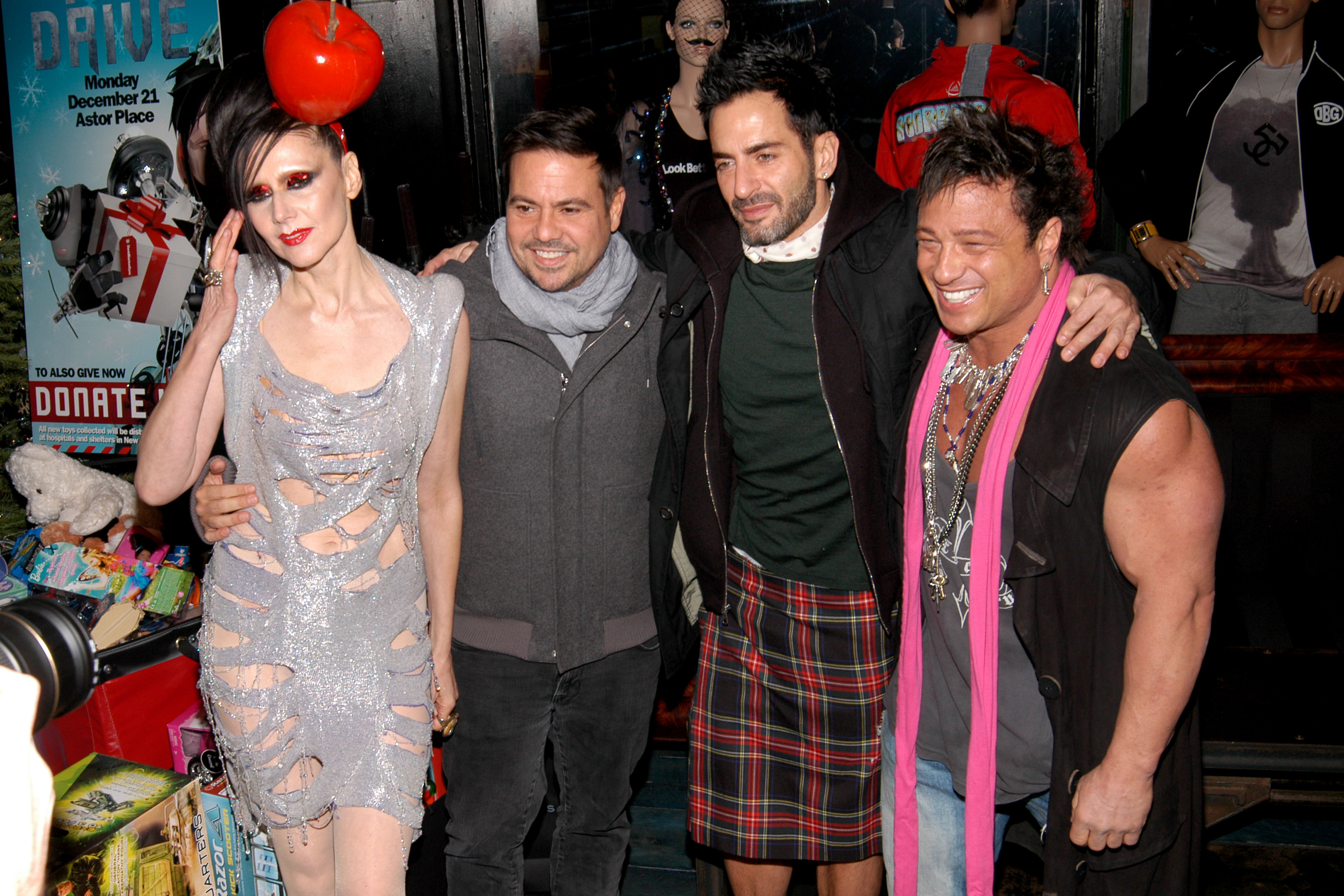 Susanne Bartsch, Narciso Rodriguez, Marc Jacobs, David Barton==DAVID BARTON GYM's TOY DRIVE For Kids At Hospitals And Shelters In New York==David Barton Gym, Astor Place, NYC==December 21, 2009==©Patrick McMullan==Photo- JP PULLOS/PatrickMcMullan.com====