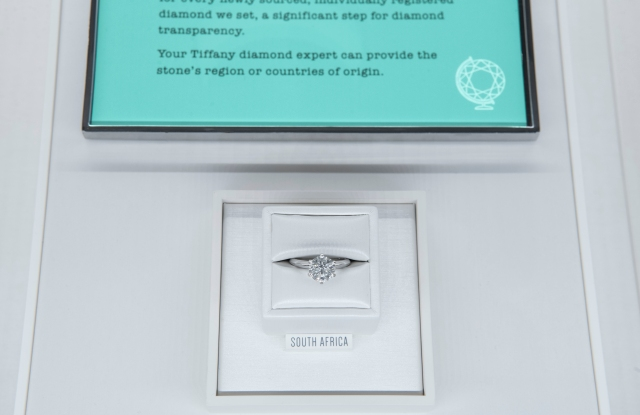 An example of Tiffany's new engagement ring merchandising, featuring its Diamond Source Initiative.