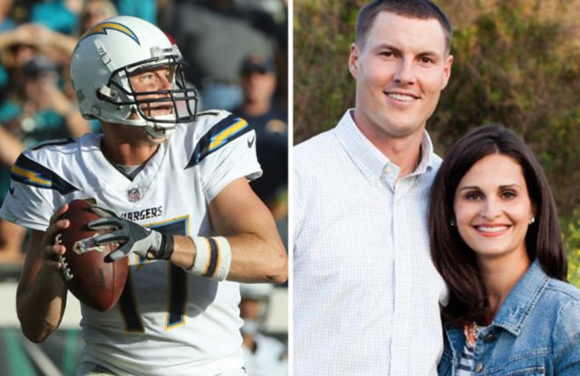 Phil Rivers on the field and with his wife, Tiffany.