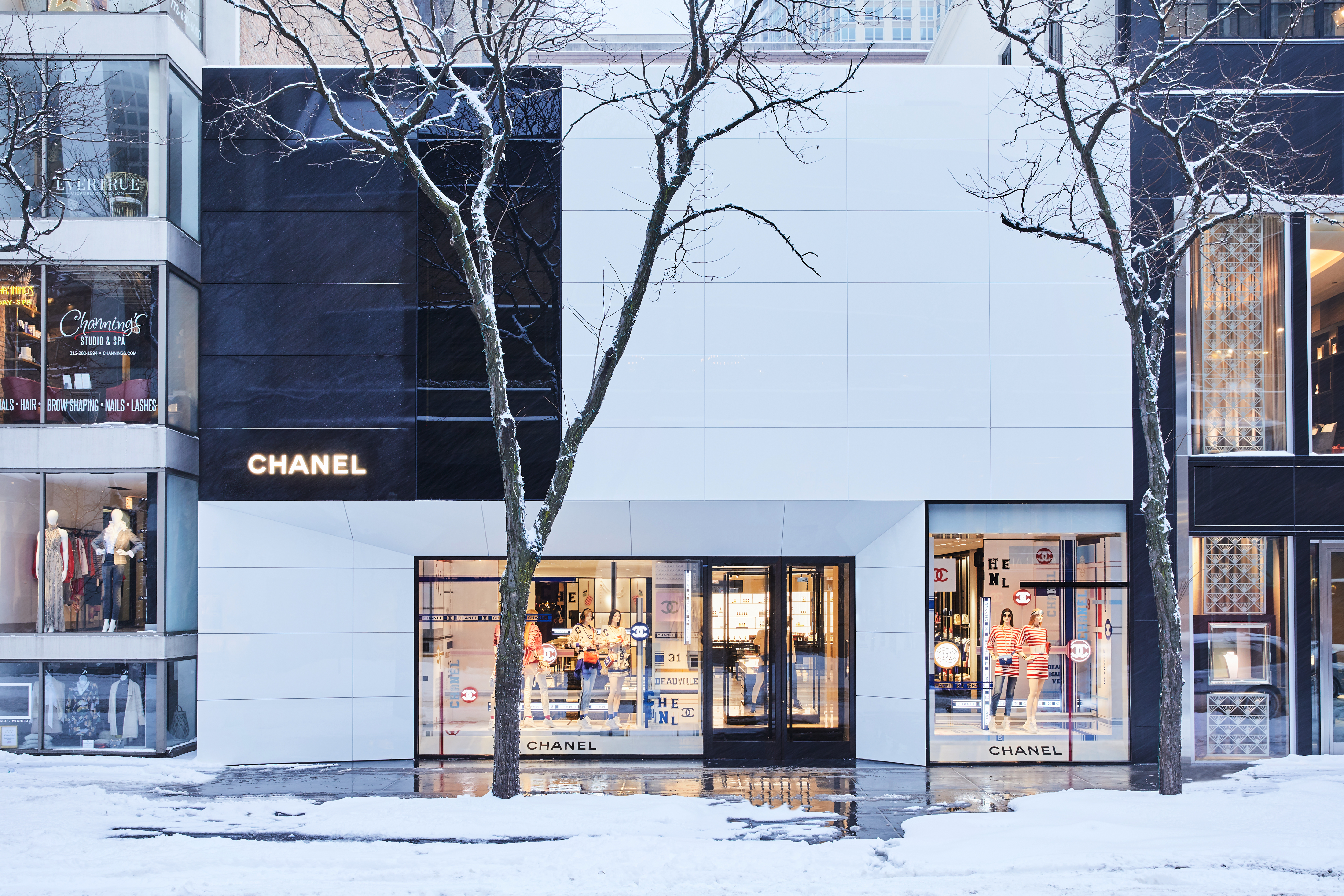 The exterior of the new Chanel store in Chicago, which was designed inside and out by Peter Marino.