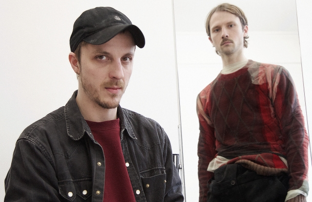 Glenn Martens and a model in a look from Y/Project.
