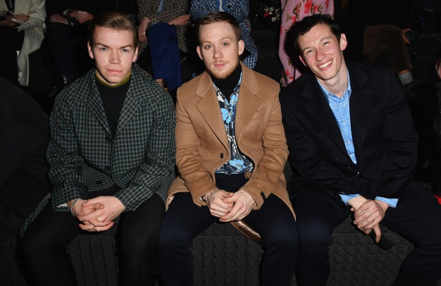 MILAN, ITALY - JANUARY 13: Will Poulter, Joe Cole and Callum Turner attend Prada F/W19 Men's and Women's Fashion Show on January 13, 2019 in Milan, Italy.  (Photo by Jacopo Raule/Getty Images for Prada)