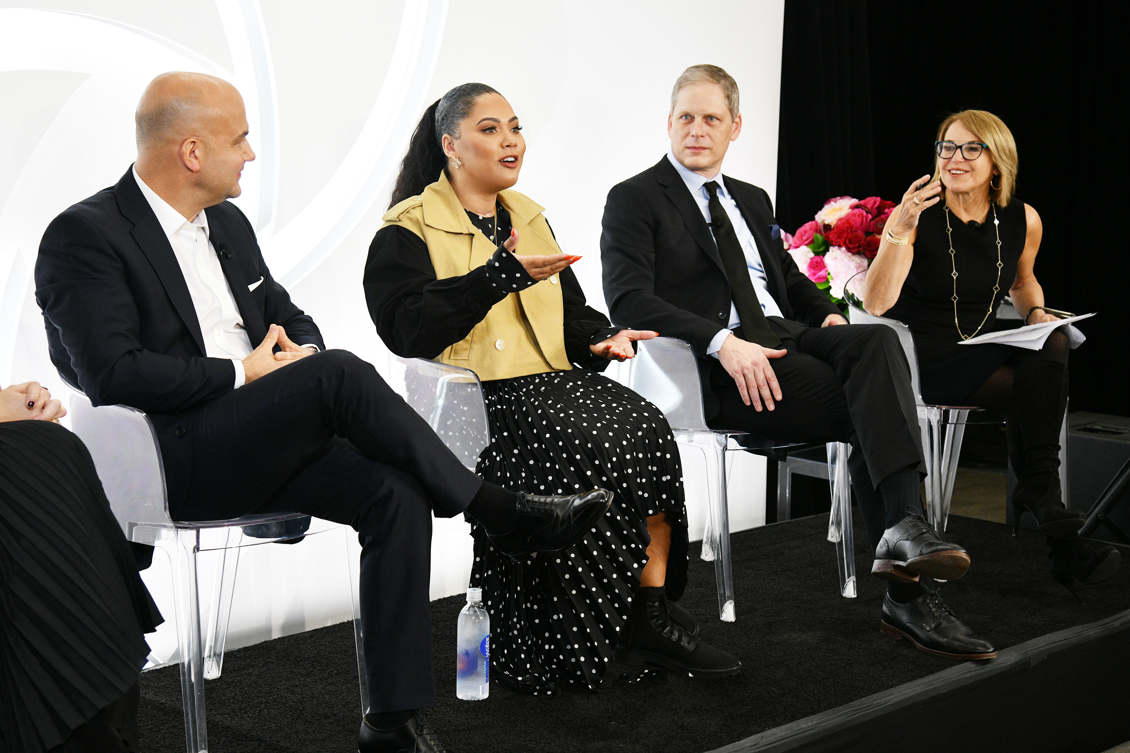 NEW YORK, NY - JANUARY 24:  (L-R) Andrew Stanleick, Ayesha Curry, Norman de Greve, and Katie Couric participate in a panel discussion as CVS Pharmacy unveils new beauty aisles featuring Unaltered brand partner 2019 beauty campaigns on January 24, 2019 in New York City.  (Photo by Bryan Bedder/Getty Images for CVS Pharmacy) *** Local Caption *** Andrew Stanleick;Ayesha Curry;Norman de Greve;Katie Couric