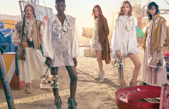 """Coach's women's global ad campaign features an all-female gang, including Coach ambassadors Kiko Mizuhara and Guan Ziaotong and models Adut Akech, Sora Choi, Indira Scott, Fran Summers and Kiki Willems.Shot by photographer Craig McDean, the setting is a sunlit desert landscape outside of Los Angeles. The campaign was styled by Jane How and art directed by Fabien Baron. The women are dressed in floral print dresses and carrying the season's handbags, such as the Parker Top Handle and Signature Patchwork Dreamer. The campaign also features pieces created in collaboration with Disney, which reimagines the studio's well-known characters.""""Spring 2019 is inspired by the American west,"""" said Stuart Vevers, creative director of Coach. """"It's about possibility, adventure and romance – and places where anything can happen.""""The company will also release a series of films today introducing the spring 2019 collection and spotlighting key bags, ready-to-wear and footwear._ Lisa Lockwood"""