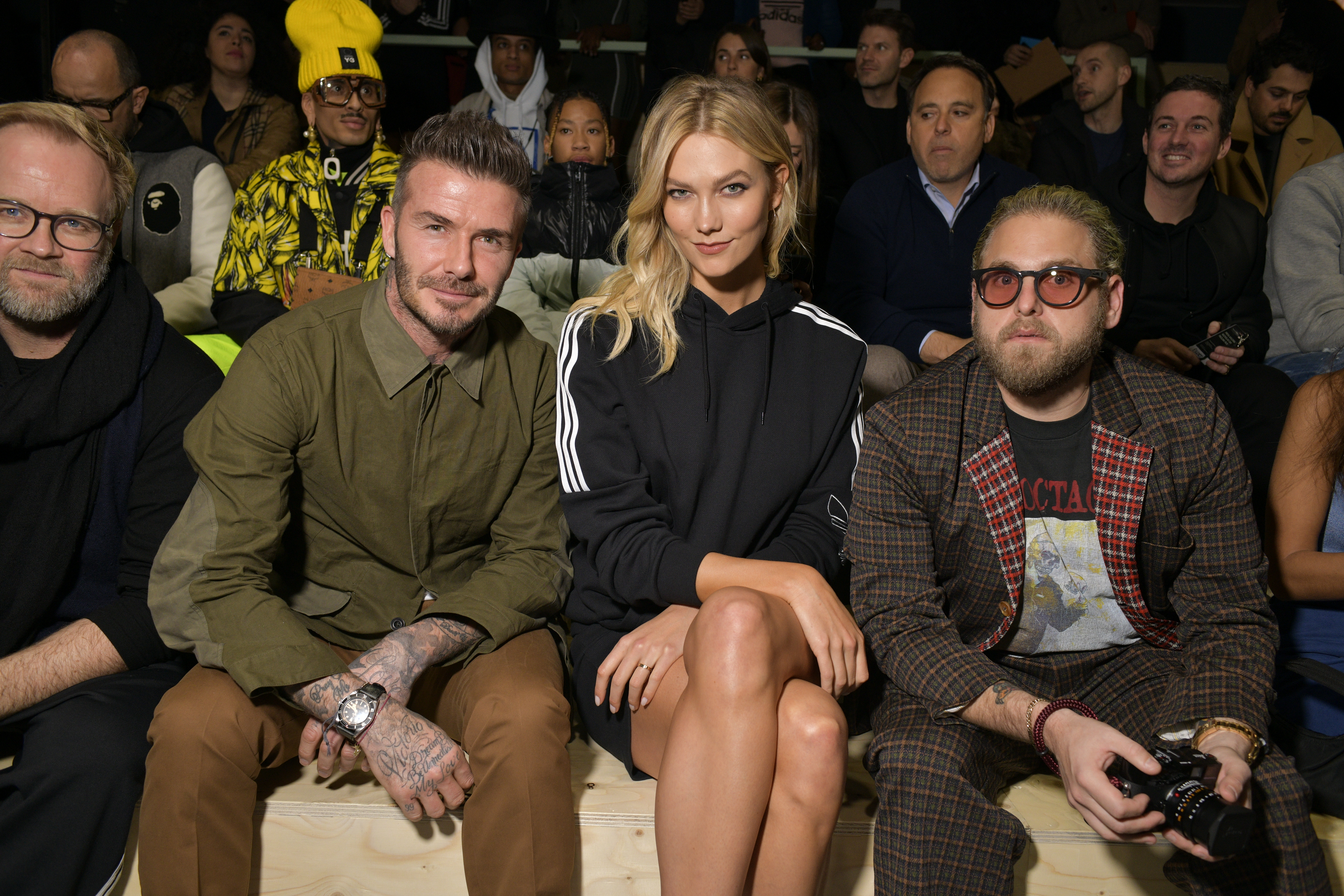 barato trapo Receptor  David Beckham, Pharrell Williams Cheer On Young Talent at Adidas Show – WWD