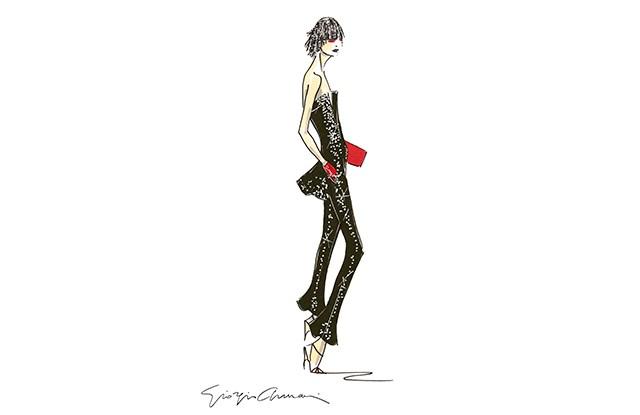 A sketch for the Giorgio Armani Privé spring-summer 2019 haute couture collection.
