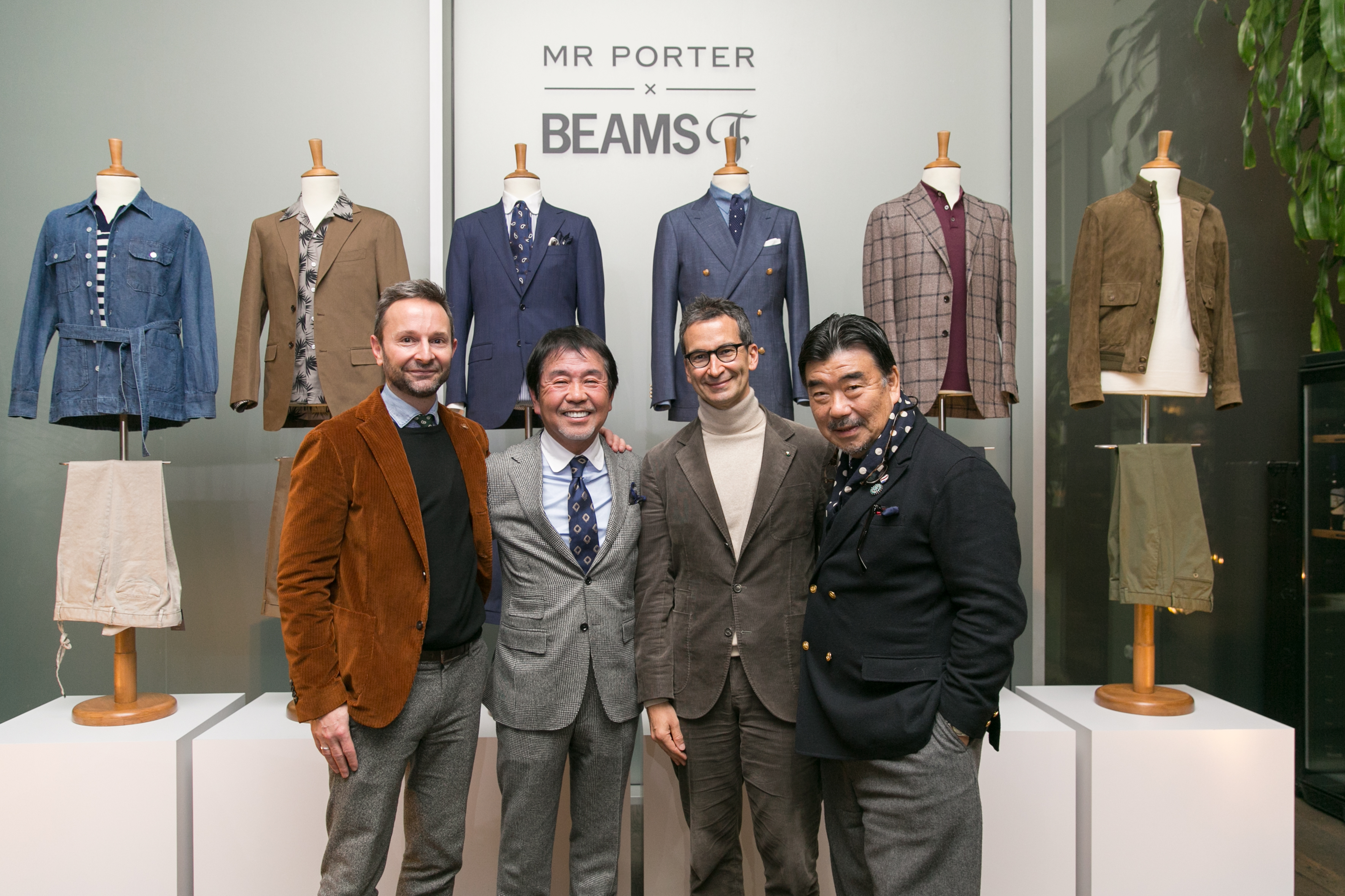 Mr Porter's Jeremy Langmead, Beams' ceo Yo Shitara, Yoox Net-A-Porter ceo Federico Marchetti and Beams' VP Keishi Endo.