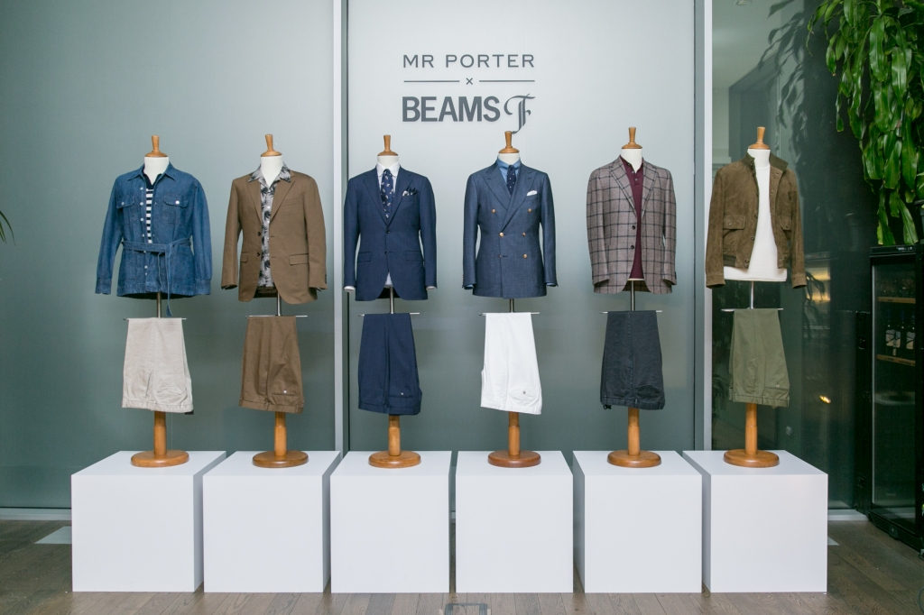 The Mr Porter x Beams F capsule collection displayed at Milan's The Botanical Club during fashion week.