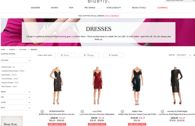 Bluefly offers discount luxury, pre-owned classics and affordable fashion.